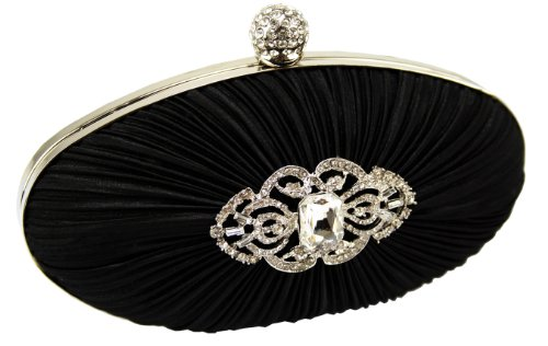 Oval Black Hard Cased Crystal Pleated Party Prom Evening Clutch Bag (18cm x 10cm) with PreciousBags Dust Bag, Bags Central