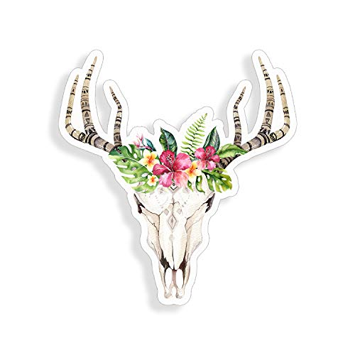 Bohemian Boho Cow Skull Antler Flower Taurus Sticker cup laptop car bouquet vinyl decal window bumper wall graphic