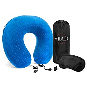 AERIS Memory Foam Travel Neck Pillow with Sleep Mask,Earplugs,Carry Bag,Adjustable Toggles,Machine Washable Velour Cover,Blue
