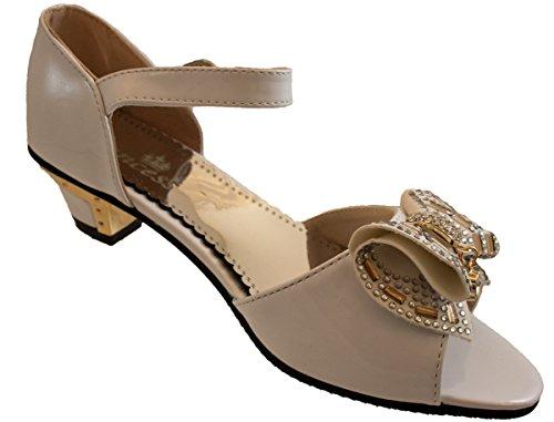 Party Bridesmaid Kids Wedding Flowergirl Shoes Heels Communion Sandals Silver Girls nBZOn