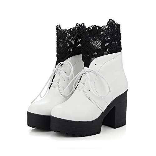 Closed AmoonyFashion Lace Round Heels Toe Solid Lace with Up Women's Boots White High rfwrRX