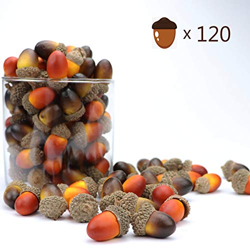 Fall Vase Fillers (120Pcs Artificial Acorn Small Fake Nutty for Halloween Thanksgiving Christmas Vase Filler)