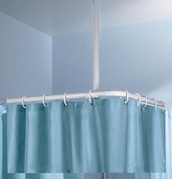 Deckenstütze Deckenhalterung für Duschstange 22 mm Ø weiß 60 cm alu
