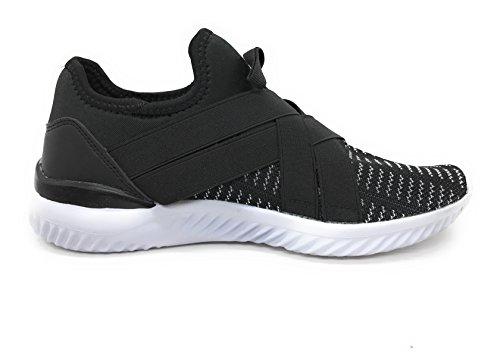 Blue Berry EASY21 Herren Atmungsaktive Mode Turnschuhe Casual Slip-On Loafers Laufschuhe Schwarz 35