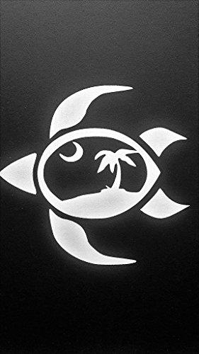 Chase Grace Studio Hawaiian Turtle Hibiscus Hawaii Beach Palm Tree Vinyl Decal Sticker|WHITE|Cars Trucks SUV Laptops Boats Kayak Wall Art|5