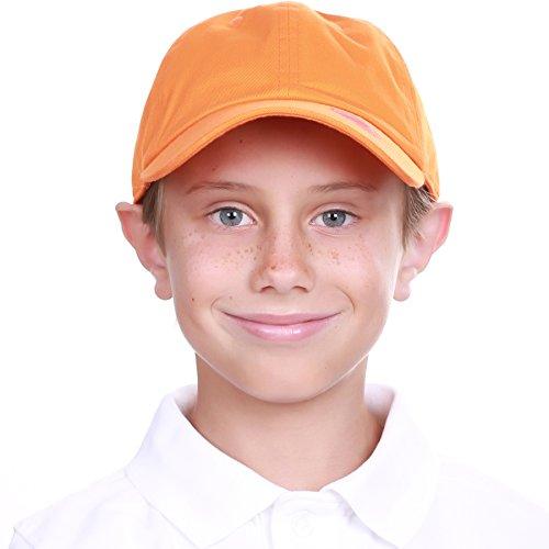 KBC-13LOW ORG (2-5) Kids Boys Girls Hats Washed Low Profile Cotton and Denim Plain Baseball Cap Hat Unisex - Womens Child Cap
