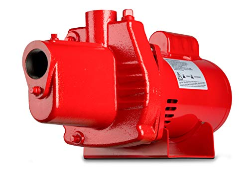 Cast Iron Sprinkler Pump - Red Lion RJS-100-PREM 602208 Premium Cast Iron Shallow Jet Pump for Wells up to 25 ft, 9.1 x 17.8 x 9.1 inches, red