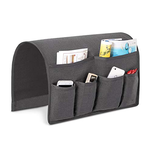 Joywell Sofa Armrest Pocket Organizer, Couch Arm Chair Caddy with 6 Pockets for Magazine, Books, TV Remote Control, Cell Phone, iPad (Grey)