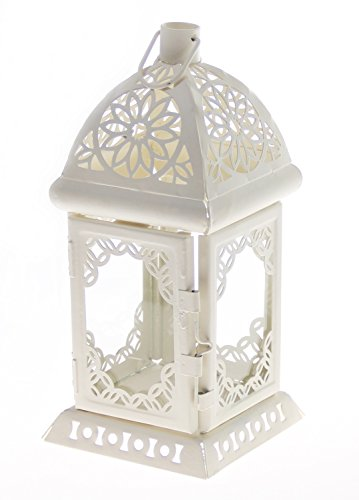 Cast Iron Glass Freestanding Hanging Tea-light Candle Lantern Holder | Moroccan Style | Modern White | Suitable For Candles Measured 2.4