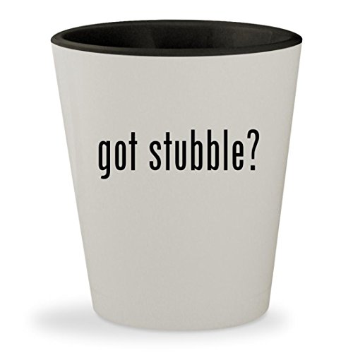 got stubble? - White Outer & Black Inner Ceramic 1.5oz Shot Glass - Costume Makeup Stubble