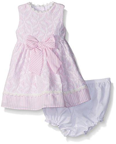 Marmellata Baby Girls' Sleeveless Spring Summer Party Dress, Seersucker Pink, 12 Months