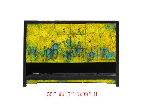 Chinese Sunflower Oil Painting Buffet Table Tv Stand Cabinet Awk2782 from Table & Dining Set