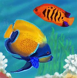 - Yellow Angel Fish Decorative Wall Art Tile 8x8