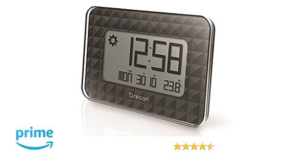 Oregon Scientific JW208_W - Reloj de Pared Digital GLAZE con termómetro y calendario, color Negro: Amazon.es: Salud y cuidado personal