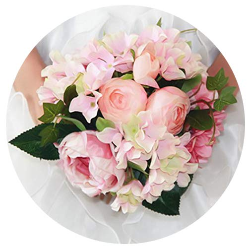 (Artificial Silk Hydrangea Peony Ranunculus Posy Flowers Lu Lotus Bouquet Wedding Home Decoration Approx 8.5