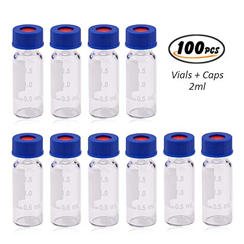 Autosampler Vial, 2ml HPLC Vial, Clear Lab Vial, Sample Vial with Writing Area, 9-425 Screw-Thread Vial, Blue Screw Cap with Hole, White PTFE & Red Silicone Septa 100 Pack by Alberts Filter