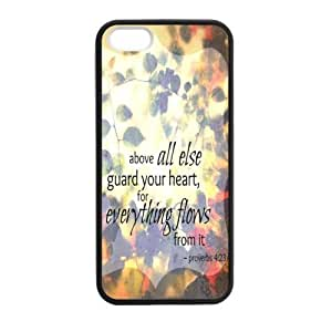 Special Bible Verse - Proverbs 4:23 Above Else, Guard Your Heart Pattern iPhone 5 5S TPU(Laser Technology) Durable Back Case Shell - For iPhone 5 5S, For Every Thing You Do Flows from it