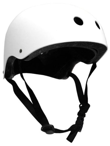 Krown White Shell with Black Strap Skateboard Helmet, Junior