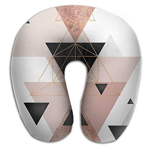 Blush Type Rose (FJFASHION Geometric Triangles in Blush and Rose Gold U Type Travel Neck Pillows Super Soft Cervical Comfortable Pillows with Resilient Material)