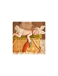 Newborn Baby Girl / Boy Crochet Knit Costume Photography Prop Outfits (Carrot Loving Bunny)