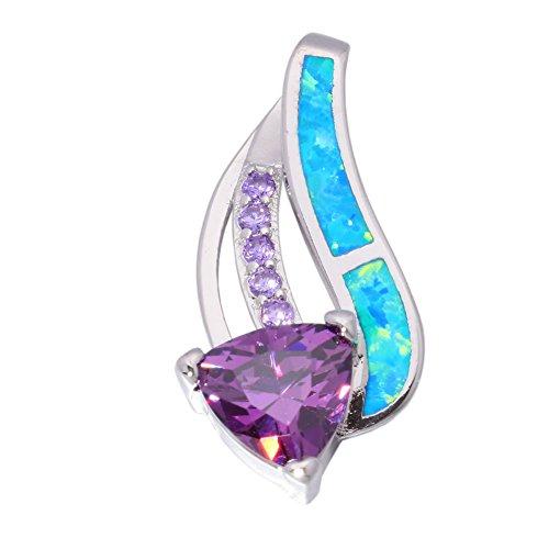 Opal Pendant Jewelry - CiNily Created Blue Fire Opal Amethyst Women Jewelry Gemstone Rhodium Plated Pendant 1