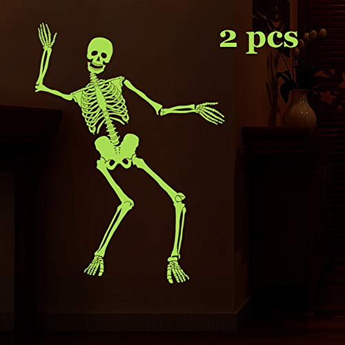 Aqumax Alloween Decor Luminous Removable Tape Sticker,Glow in The Dark Tape,Wall Night Luminous Decals Fluorescent for Halloween Party Home Room Décor (Skull)]()