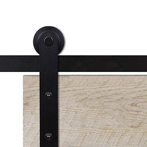 Hahaemall Straight Brackets Heavy Hanger Steel Bar Rail Sliding Barn Door Hardware Roller Track Kit Hanging Single Wooden Door Panel (5FT) by Hahaemall (Image #1)