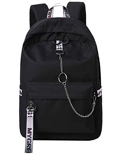 El-fmly Kid's School Daypack Laptop Backpack, Outdoor Backpack School Bags Water-Resistant Travel Camping Bags Daypack for Women Girls Teens- Black+Gray