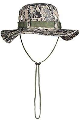 Mens Bucket Hat with String Military Camo Hat Wide Brim for Fishing Camping