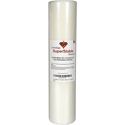 Fusible Mesh Stabilizer 1.5 oz 12 inch x 10 Yard Roll. SuperStable Fuse Embroidery Stabilizer -