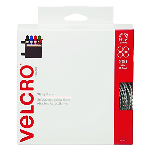 Velcro 90140 Sticky-Back Hook & Loop Dot Fasteners, Dispenser, 3/4