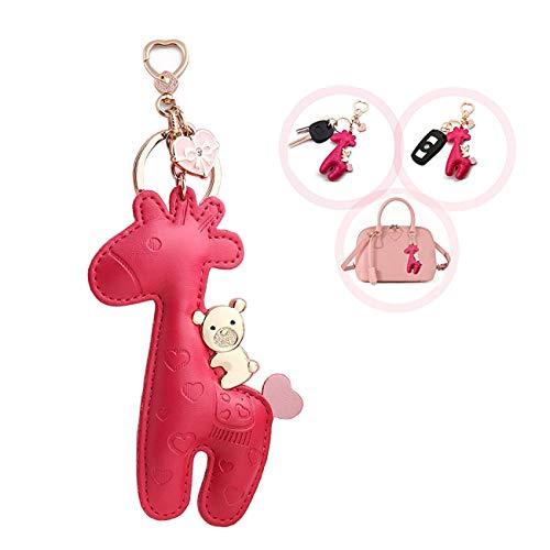 MILESI Cute Giraffe Keychain (Key Chain) Organizer, Luxury Leather Car Keys Holder, Womens Bag Pendant Charm, Festive Gifts, Rose -