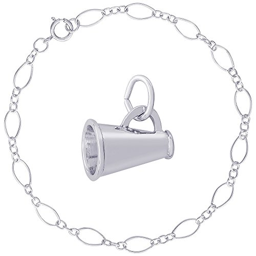 - Rembrandt Charms Sterling Silver Megaphone Accent Charm on a Figaro Link Bracelet, 7