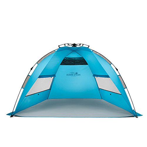 Pacific Breeze Easy Up Beach Tent (Spacious Front Pocket)