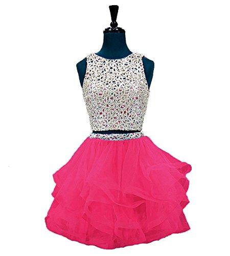 Fanciest Women's Beaded Two Pieces Homecoming Dresses 2017 Ruffles Short Prom Gowns Hot Pink US2 by Fanciest