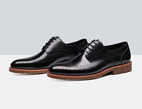 Zapatos Clásicos de Piel para Hombre Zapatos de cuero de los hombres Estilo retro de negocios de estilo británico ( Color : Yellow-brown , Tamaño : EU40/UK6.5 ) Negro