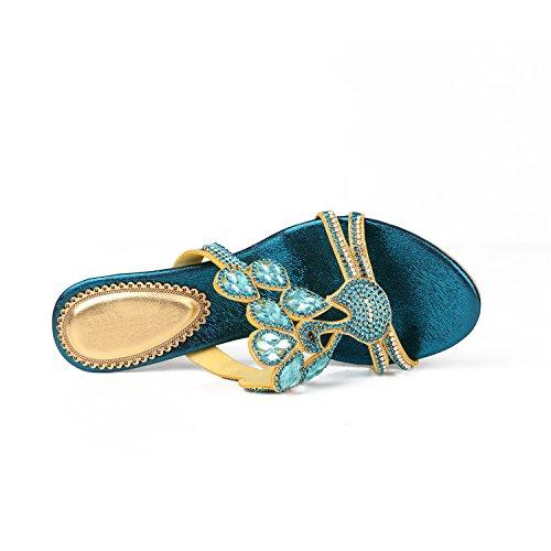 Crystal Sandals Heel Heel PU Chunky Dress for Heel Block Gold Toe Summer Women's A Comfort Crystal Shoes Pointed qOYInwx4F