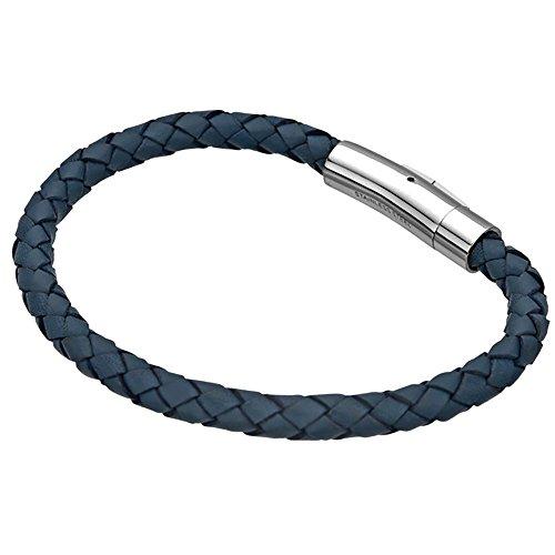 INOX Mens Blue Braided Leather Bracelet w/Stainless Steel Clasp (Men Leather Bracelet Inox)
