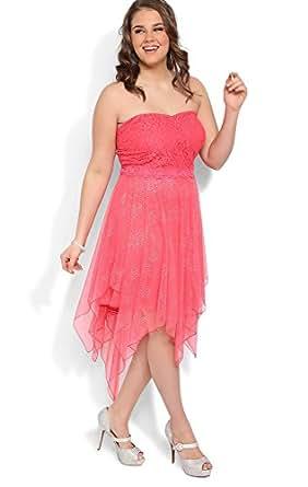 Deb Junior Plus Size Glitter Lace Strapless Prom Dress