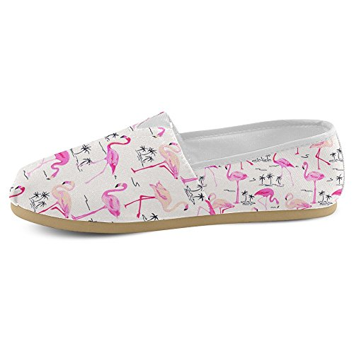 Mocassini Da Donna Di Interestprint Classico Su Tela Casual Slip On Scarpe Moda Scarpe Da Ginnastica Mary Jane Flats Red Flamingo Bird