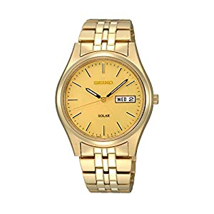 Seiko Men's Goldtone Dial Solar Calendar Watch
