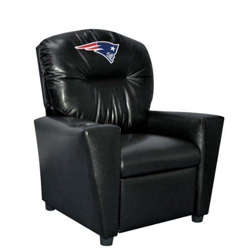 Logo Reclining Recliner - Imperial Officially Licensed NFL Furniture: Youth Faux Leather Recliner, New England Patriots