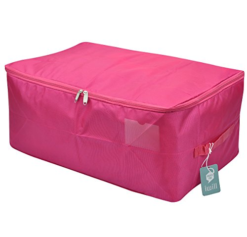 Travel Organizer Bag, Storage Container for College Dorm-room, Waterproof and Dustproof, Attractive Colors(rosy Red, L)