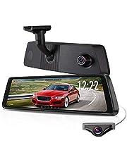 X1Pro Rétroviseur Dashcam 25,1cm Ecran Tactile Double Objectif avec 1296P Avant et 720p Super Vision de Nuit, Caméra de recul Stream Media Kit WDR LDWS GPS avec Réglage Luminosité Automatique