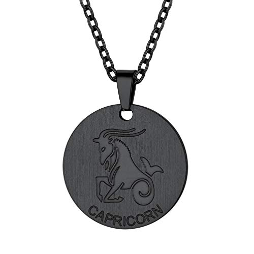 PROSTEEL Capricorn Zodiac Star Sign Coin Necklace Black Constellation Horoscope Pendant Men Women Jewelry Birthday Gift ()