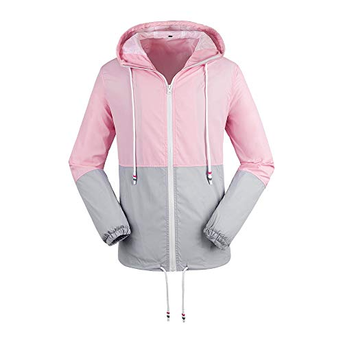 (Daxvens Women's Windbreaker Jacket with Hood Lightweight Water Resistant Rain Coat Casual Active Sportswear)