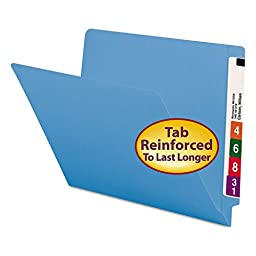 Smead 25010 Blue End Tab Colored File Folders with Reinforced Tab - Letter - 8.50quot; Width x 11quot; Length Sheet Size - 0.75quot; Expansion - 11 pt. - Blue - 100 / Box