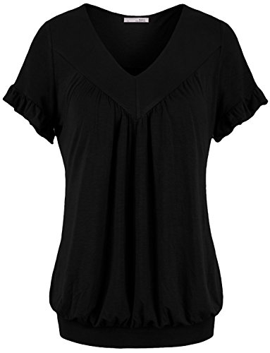 Messic Womens V Neck Short Sleeve Draped Patchwork Knitted Tunic Blouse Top – Medium, 1#Black