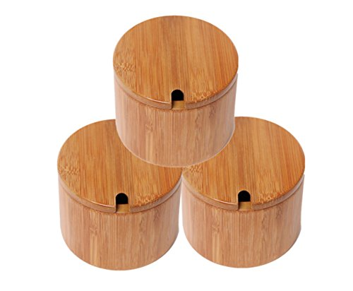 (Wansu 3Pack Round Bamboo Salt/Spices/Pepper/Tea Box Jar Set,No Magnetic,with Removable lid)