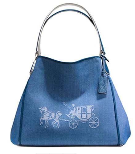 COACH 35344 Embossed Horse and Carriage Edie Shoulder Bag In Canvas in Denim by Coach